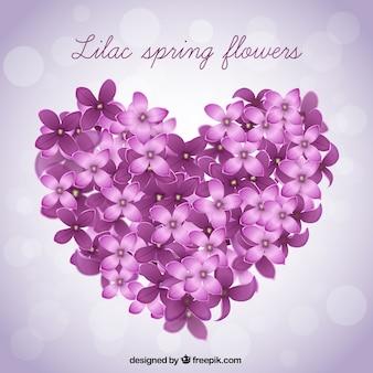 Groot hart gemaakt van lila bloemen achtergrond