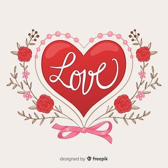 Groot hart met bloemenachtergrond