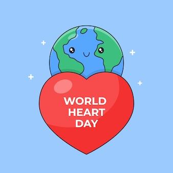 Groot hartsymbool en kleine schattige cartoon aarde voor de omtrekstijl van de wereldhartdag