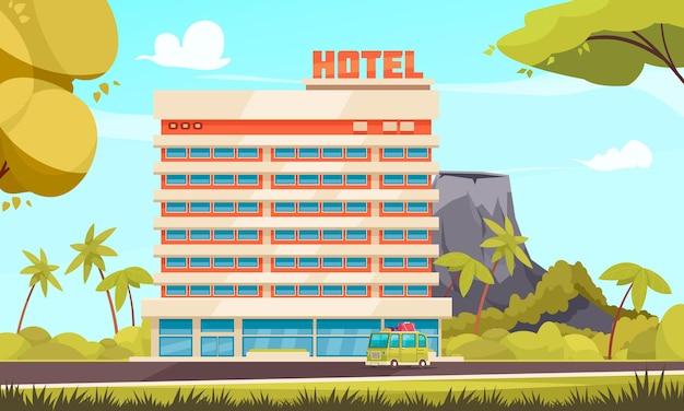 Groot hotel dat natuurlijke landschapsvulkaan bouwt in de en bus met toeristen die gaan