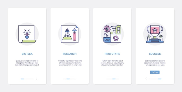 Groot idee onderzoek onderwijs processen ux, ui onboarding mobiele app-paginaschermset