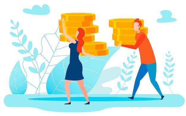 Groot inkomen, geld metafoor illustratie