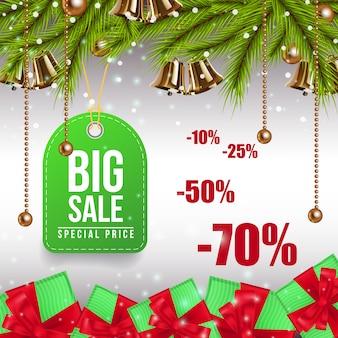 Groot kleurrijk de couponontwerp van de kerstmisverkoop