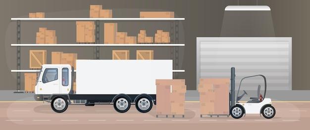 Groot magazijn met lades. rek met lades en dozen. kartonnen dozen, vrachtwagen, productiemagazijn. .