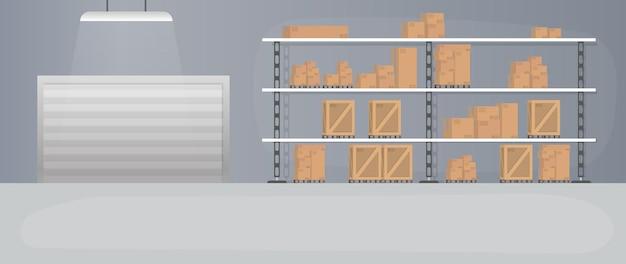 Groot magazijn met lades. rek met lades en dozen. kartonnen dozen.
