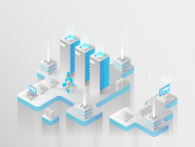 Groot modern datacenter, serverruimte