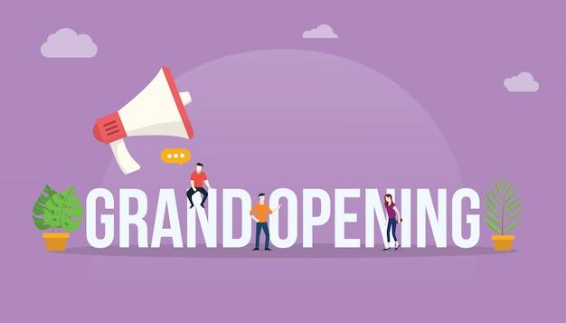 Groot openings bedrijfsconcept met megafoon
