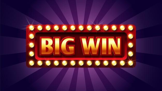 Groot overwinningsteken. casino of jackpot concept. rood en goud felicitatiekader met lichten. Premium Vector
