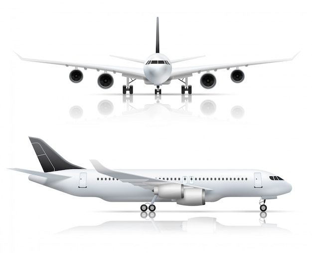 Groot passagiersvliegtuig front en zijaanzicht van het vliegtuig