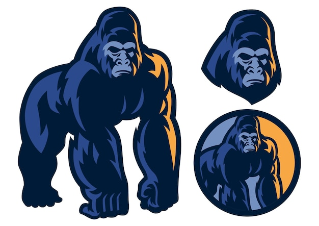 Groot spierlichaam van gorillamascotte Premium Vector