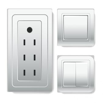 Groot stopcontact met euroconnector en lichtschakelaars