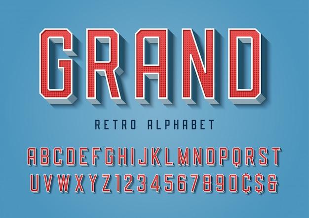 Groot trendy retro lettertype met alfabet, lett