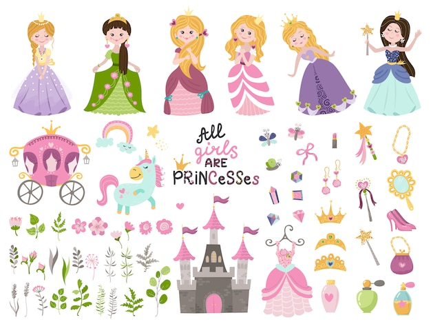 Groot vector set prachtige prinsessen, kasteel, koets en accessoires.