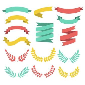 Groot vector set van verschillende lauweren, kransen en linten in moderne vlakke stijl.