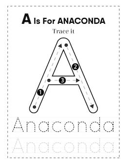 Groot werkblad voor het traceren van alfabetletters voor kleuters en peuters