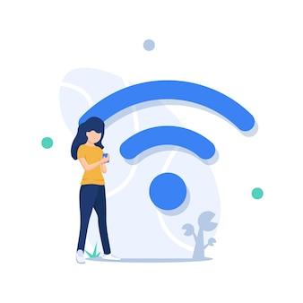 Groot wifi-bord gratis wifi-hotspotmensen in de gratis internetzone die mobiele gadgets gebruiken
