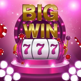 Groot win 777 concept van het loterij vectorcasino met gokautomaat