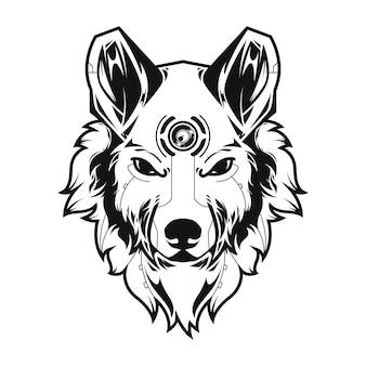 Groot wolfsillustratie en t-shirtontwerp