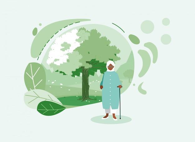 Grootmoeder avatar oude vrouw voor een boom