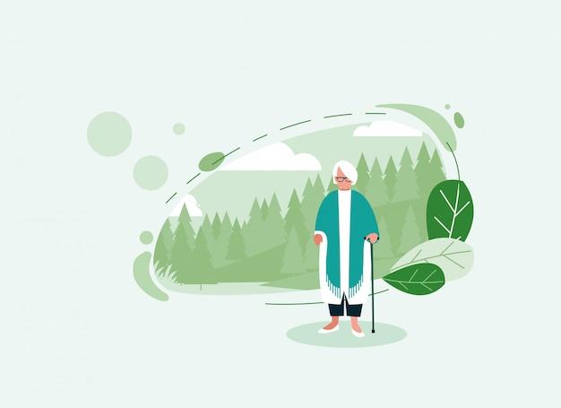 Grootmoeder avatar oude vrouw voor pijnbomen
