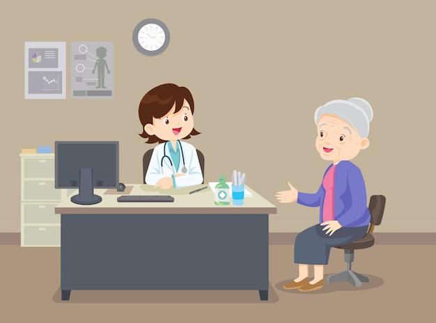 Grootmoeder bij de dokter