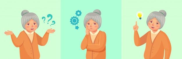 Grootmoeder denken, verwarde oudere vrouwelijke, doordachte senior vrouw opgelost vraag of onthouden antwoord cartoon