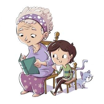 Grootmoeder die een boek met haar kleinzoon leest