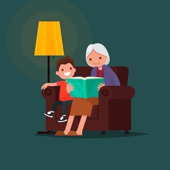 Grootmoeder die een kleinzoon van een boek leest.