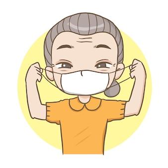 Grootmoeder draagt een masker schattig karakter cartoon model emotie illustratie illustraties