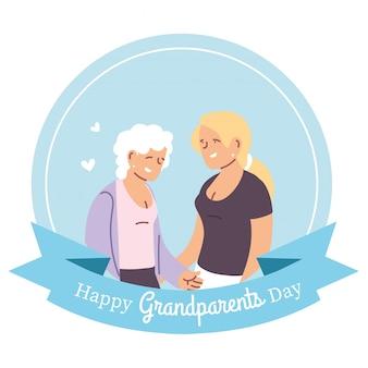 Grootmoeder en dochter ontwerp, happy grootouders dag