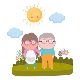 Grootmoeder en grootvader cartoon