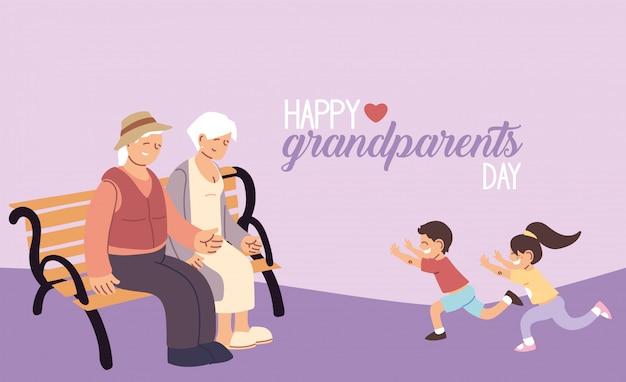 Grootmoeder en grootvader met kleinkinderen van gelukkige grootouders dag ontwerp, oude vrouw en man