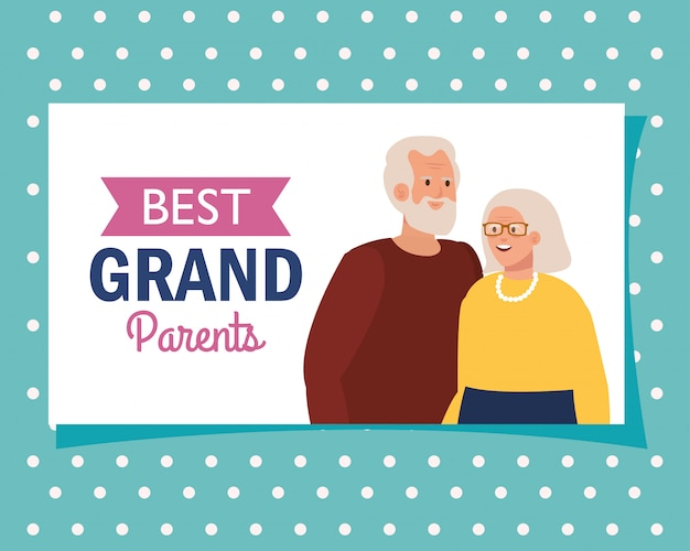 Grootmoeder en grootvader op beste grootouders vectorontwerp