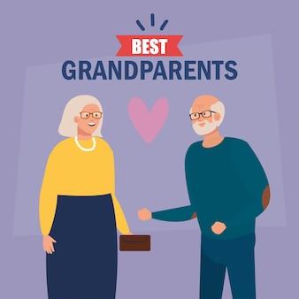 Grootmoeder en grootvader op beste grootouders vectorontwerp Premium Vector