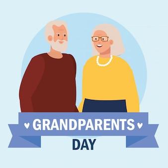 Grootmoeder en grootvader op grootouders dag vector design Premium Vector