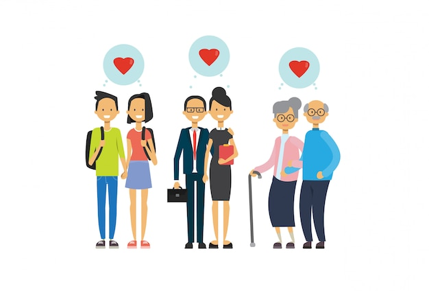 Grootmoeder en grootvader, ouder en tiener verliefde paar, multi-generatie familie