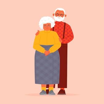 Grootmoeder en grootvader samen. grootouders. ouder echtpaar. een man en een vrouw van ouderdom.