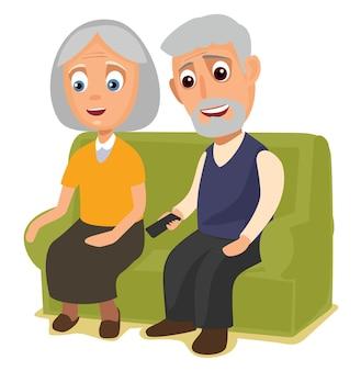 Grootmoeder en grootvader zitten samen op een bank vector egale kleurenillustratie geïsoleerd
