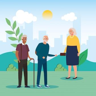 Grootmoeder en grootvaders avatars bij park vector design