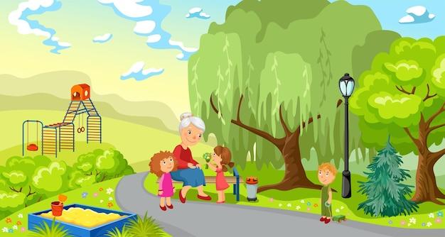 Grootmoeder en kleinkinderen in park.