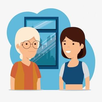 Grootmoeder en meisje familie gemeenschap bericht