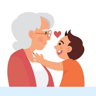 Grootmoeder hou van zijn kleinzoon vector illustratie concept
