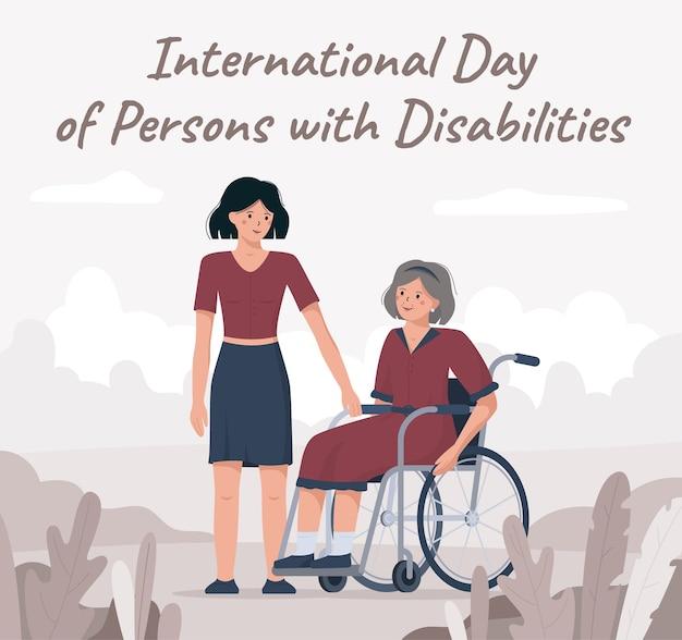 Grootmoeder in een rolstoel, internationale dag voor gehandicapten