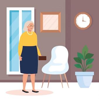 Grootmoeder in huis kamer vector design
