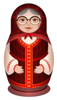 Grootmoeder in nationale matryoshka van de kleren russische houten pop