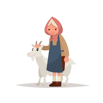 Grootmoeder met een geit.