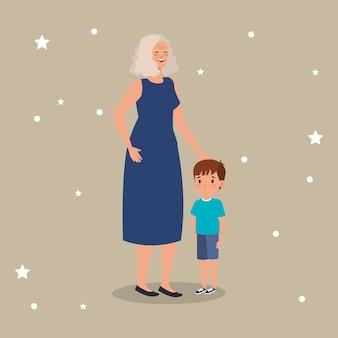 Grootmoeder met kleinzoon avatar karakter