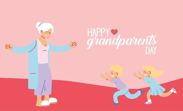Grootmoeder met kleinzoon en kleindochter van gelukkige grootouders dag ontwerp, oude vrouw vrouwelijke persoon moeder grootouders familie senior en mensen
