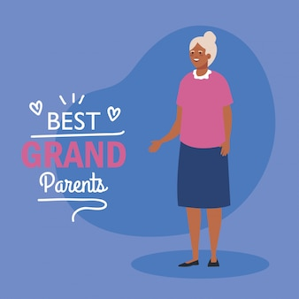 Grootmoeder op beste grootouders vectorontwerp