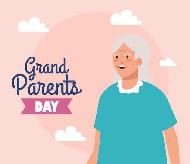 Grootmoeder op grootouders dag vector design